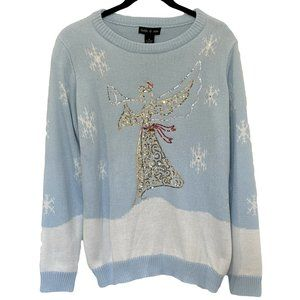 NEW Ugly Christmas Sweater Angel Bell Sequins M